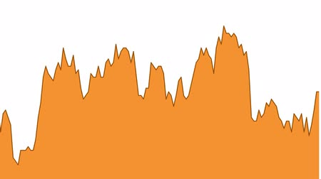 rali : orange line graph on white background chart of stock market investment trading. Stock Footage