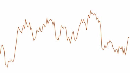 orange line graph on white background chart of stock market investment trading. Stok Video