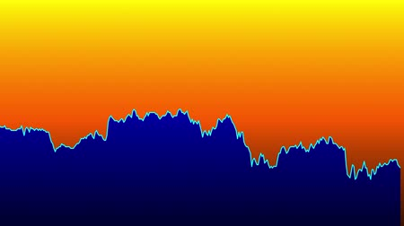 Blue line graph on orange background chart of stock market investment trading.