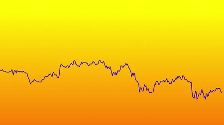 zisky : Blue line graph on orange background chart of stock market investment trading.