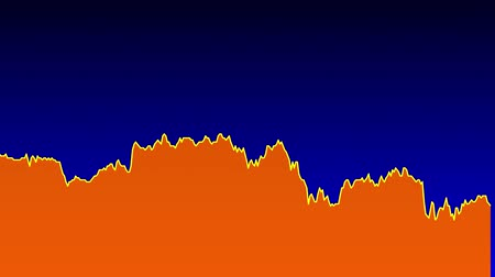 tendency : orange line graph on blue background chart of stock market investment trading.