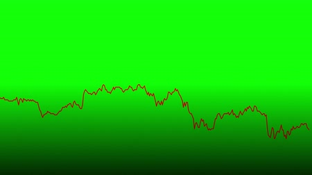 tendency : red line graph on green background chart of stock market investment trading.