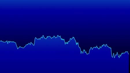 şamdan : blue line graph on blue background chart of stock market investment trading. Stok Video