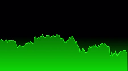 tendency : green line graph on black background chart of stock market investment trading.