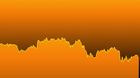ralli : orange line graph on orange background chart of stock market investment trading. Stok Video