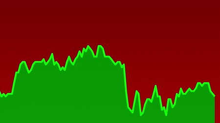 rali : green line graph on red background chart of stock market investment trading.