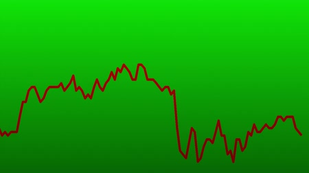 подсвечник : red line graph on green background chart of stock market investment trading.