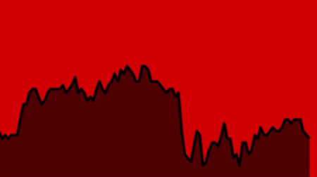 zisky : black line graph on red background chart of stock market investment trading.
