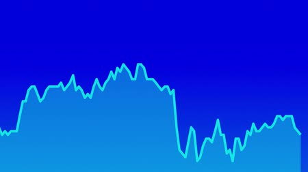 ralli : blue line graph on blue background chart of stock market investment trading. Stok Video
