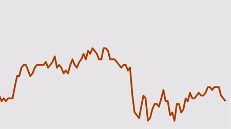 memeli : orange line graph on white background chart of stock market investment trading. Stok Video