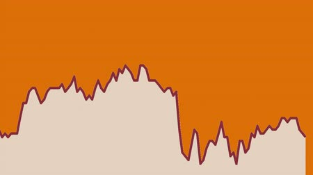 tendency : white line graph on orange background chart of stock market investment trading.