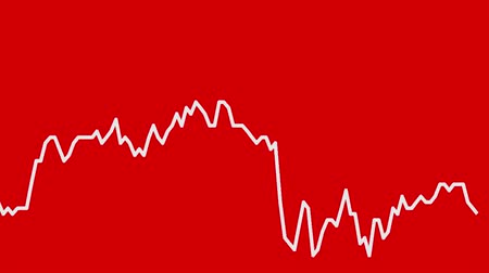 şamdan : white line graph on red background chart of stock market investment trading.