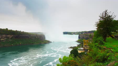 Horseshoe Falls as part of Niagara Falls timelapse in - cloudy day at the boarder of Canada and the United States.