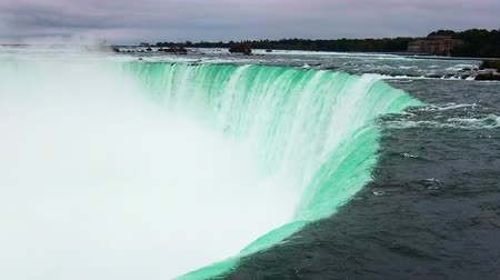 Horseshoe Falls closeup view with water flow in Niagara Falls, Canada.