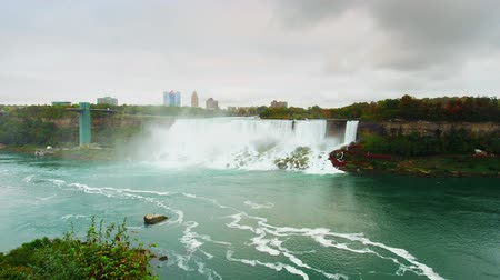 Timelapse view of American Falls with water flow and cloud in Niagara, Canada.