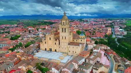 Aerial view of Segovia Cathedral and ancient architecture in Spain.