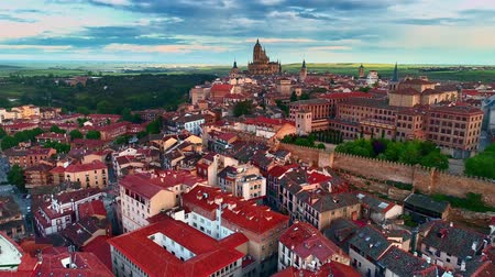 historical : Aerial view of Segovia Cathedral Roman Aqueduct of Segovia and ancient architecture in Spain. Stock Footage
