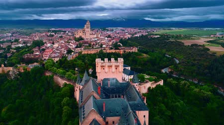 segovia : Aerial view of Alc?zar of Segovia or Segovia Fortress and Segovia Cathedral in Spain. Stock Footage
