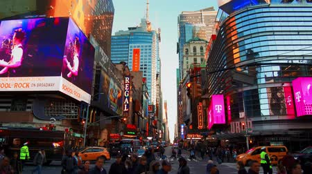 times : NEW YORK CITY, USA - OCT 30, 2018: Walk across with busy 42nd street view in Midtown Manhattan with pedestrian and traffic. Stock Footage