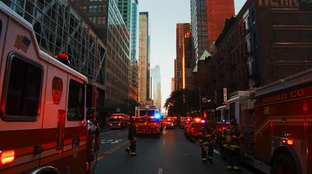 NEW YORK CITY, USA - OCT 30, 2018: Fire truck and police car ambulance at 42nd street in response to an emergency incident in Midtown Manhattan.