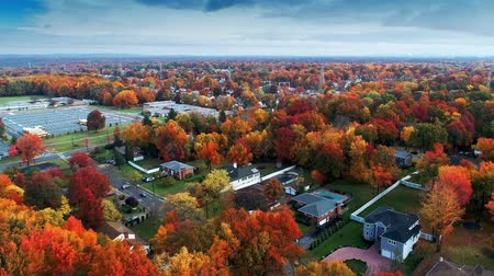 new jersey : Aerial view of residential area in Autumn with colorful foliage Stock mozgókép