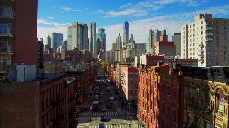 NEW YORK CITY, USA - OCT 30, 2018: Manhattan downtown Chinatown timelapse viewed from above with historical buildings