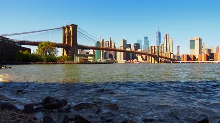Бруклин : Waterfront view of downtown Manhattan with Brooklyn Bridge and financial district skyscrapers in New York City