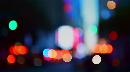 crowded : Bokeh out of focus at 42nd street in midtown Manhattan New York City. Stock Footage