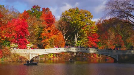 Central Park de Nueva York en otoño con Bow Bridge y lago