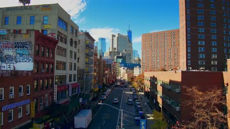 kínai negyed : NEW YORK CITY, USA - OCT 30, 2018: Manhattan downtown Chinatown viewed from above with historical buildings