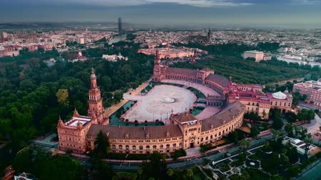 Aerial view of Spanish Square Plaza de Espana at dusk in Seville Spain Dostupné videozáznamy