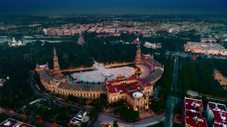 espana : Aerial view of Spanish Square Plaza de Espana at dusk in Seville Spain Stock Footage