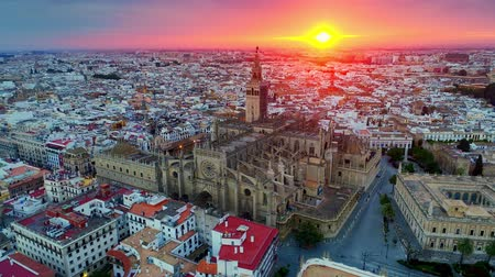 Sunrise aerial view of Seville Cathedral in Spain.