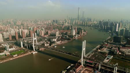 nanpu : Nanpu Bridge and Huangpu river in Shanghai aerial view in China