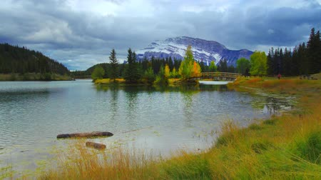 pastoral : Cascade Ponds in Banff National Park timelapse, Canada. Stok Video