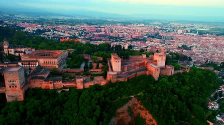 mór : Alhambra aerial view at sunrise in Granada Spain.