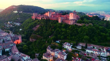 mór : Alhambra viewed at sunrise from drone in Granada Spain.
