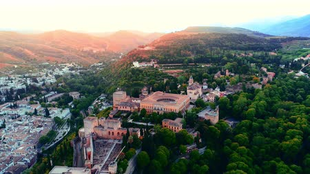 mór : Done view fly above Alhambra at sunrise in Granada Spain.