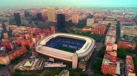 real madrid : Madrid, Spain - May 28, 2018: Aerial view of Santiago Bernab?u Stadium as the home of Real Madrid CF.  Madrid is the capital and the largest city in Spain. Stock Footage