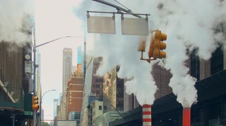 crowded : New York City - Sept 28, 2018: Street view with skyscraper chimney. New York City is the most populous city in the United States.