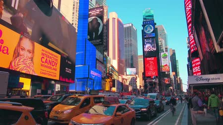 times : New York City - Sept 28, 2018: Times square with crowded traffic billboard and people. New York City is the most populous city in the United States. Stock Footage