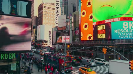 times : New York City - Sept 28, 2018: Times square timelapse with crowded traffic billboard and people. New York City is the most populous city in the United States.