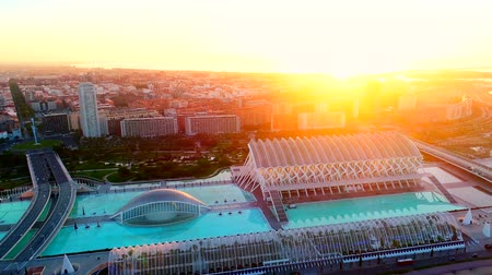 İspanya : Valencia, Spain - May 28, 2018: Valencia aerial view with modern buildings in Spain at sunrise