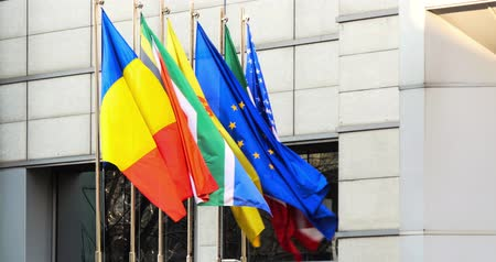 all european flags : International Flags Of Romania, Italy, United States And European Union