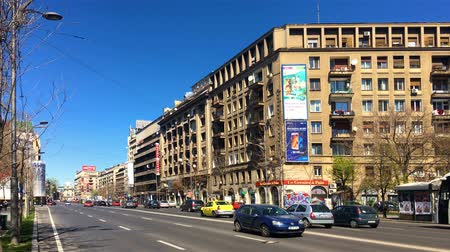 traffic bucharest : BUCHAREST, ROMANIA - APRIL 10, 2017: Panoramic View Of Gheorghe Magheru Boulevard Of Bucharest, One Of The Most Expensive Commercial Streets In The World.