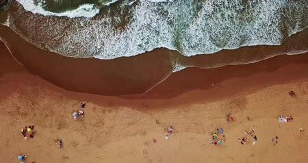 crowded people : Aerial Summer View Of People Crowd Having Fun On Beach In Portugal