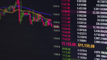 зарабатывать : Broker Trading Bitcoin Cryptocurrency On Exchange With Price Evolution Candle Chart Стоковые видеозаписи