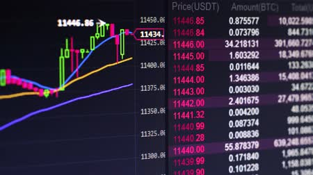 speculate : Broker Trading Bitcoin Cryptocurrency On Exchange With Price Evolution Candle Chart Stock Footage