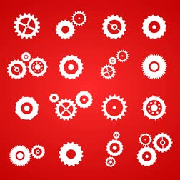 motion design : Cogs And Gears Spinning Icons