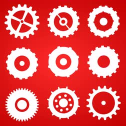 машиностроение : Cogs And Gears Spinning Icons